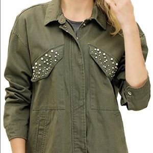 Jackets & Blazers - Pearl detailed utility jacket